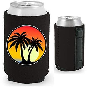 black magnetic can koozie with palm tree and sunset design