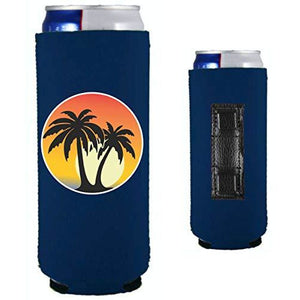 Palm Tree Sunset Magnetic Slim Can Coolie