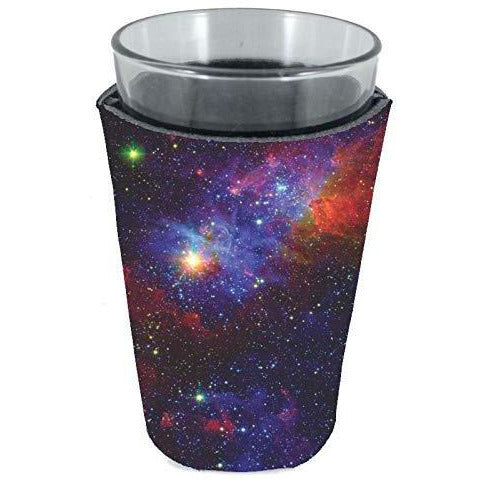 pint glass koozie with galaxy space all over print design