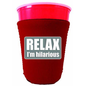 red party cup koozie with relax im hilarious design
