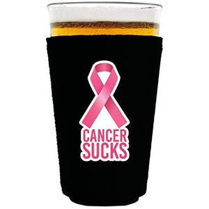 black pint glass koozie with cancer sucks text and pink ribbon graphic