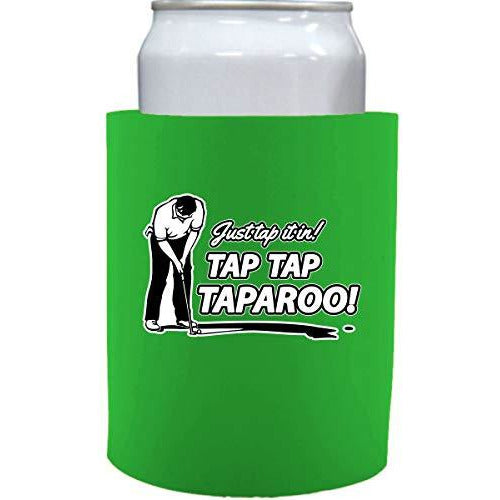 bright green old school thick foam koozie with just tap it in tap tap taparoo! design