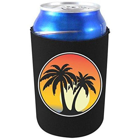 can koozie with palm tree sunset design