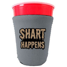 Load image into Gallery viewer, gray party cup koozie with shart happens design