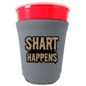 gray party cup koozie with shart happens design