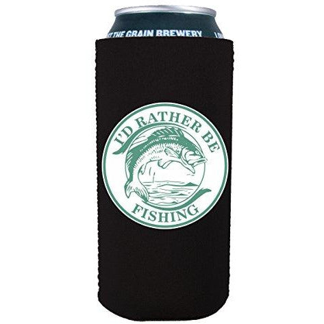 16 oz can koozie with id rather be fishing design