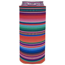 Load image into Gallery viewer, slim can koozie with serape stripes design