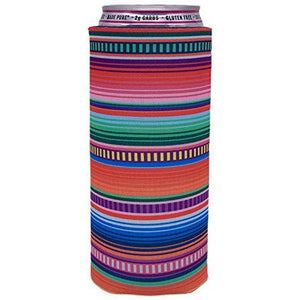 slim can koozie with serape stripes design