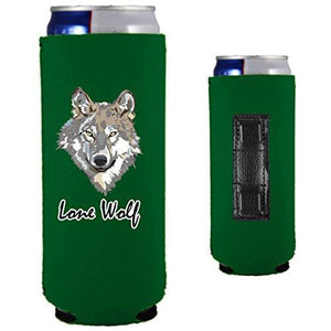 green magnetic slim can koozie with lone wolf design