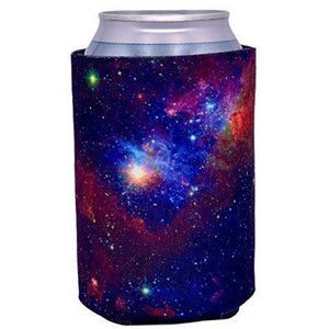 regular can koozie with galaxy space all over print design
