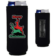 Load image into Gallery viewer, black magnetic slim can koozie with reindeer humping merry christmas design