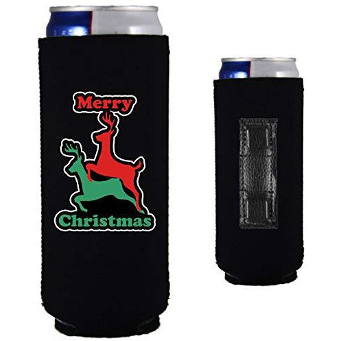 black magnetic slim can koozie with reindeer humping merry christmas design