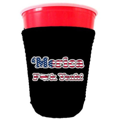 black party cup koozie with merica fuck yeah design