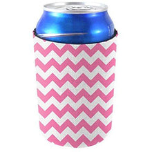 Load image into Gallery viewer, can koozie with chevron stripe design in pink