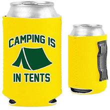 Load image into Gallery viewer, yellow magnetic can koozie with funny camping is in tents design