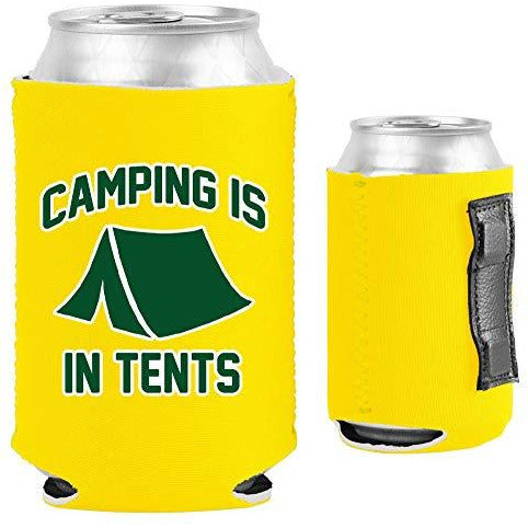 yellow magnetic can koozie with funny camping is in tents design
