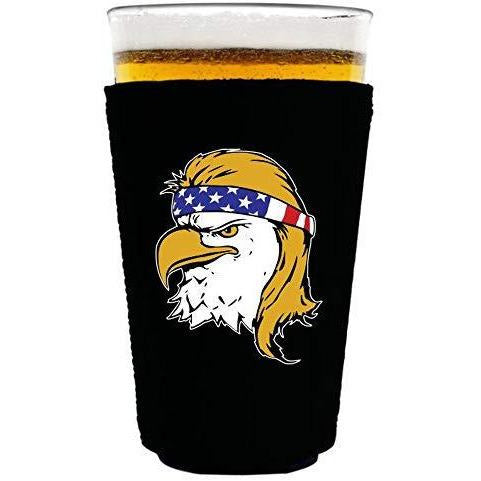 black pint glass koozie with bald eagle with mullet hair funny design