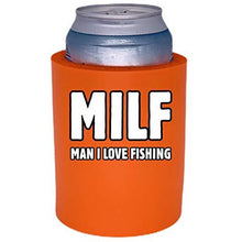 "Load image into Gallery viewer, MILF Man I Love Fishing Thick Foam""Old School"" Can Coolie"