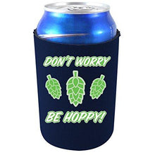 "Load image into Gallery viewer, navy blue can koozie with ""don't worry be hoppy"" text and beer hops graphics design"