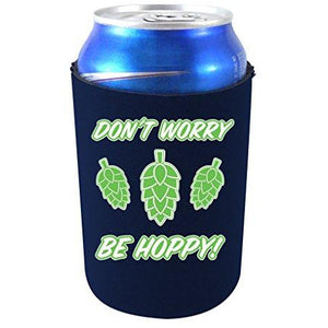 "navy blue can koozie with ""don't worry be hoppy"" text and beer hops graphics design"