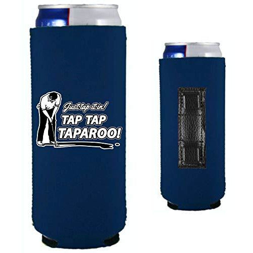 navy blue magnetic slim can koozie with just tap it in taparoo funny golf design
