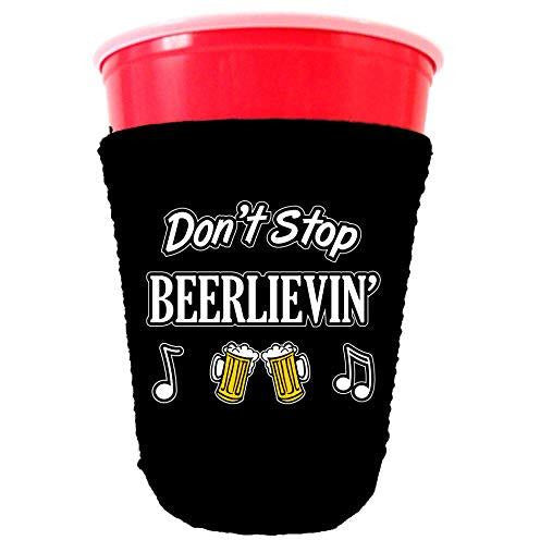 black party cup koozie with dont stop beerlievin design