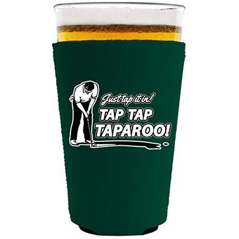 pint glass koozie with tap tap taparoo design