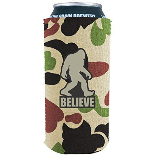16oz can koozie with bigfoot believe funny design