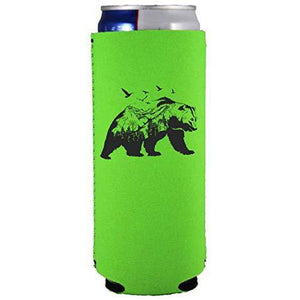 bright green slim can koozie with mountain bear graphic design