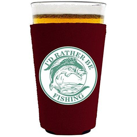 pint glass koozie with id rather be fishing design