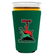 Load image into Gallery viewer, pint glass koozie with merry christmas design
