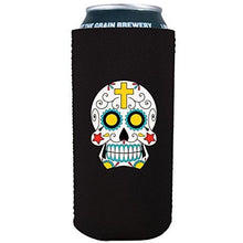Load image into Gallery viewer, 16 oz koozie with sugar skull design