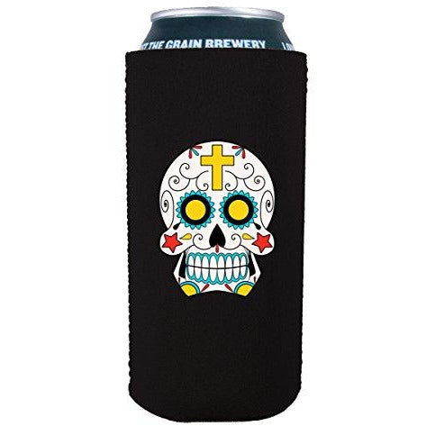 16 oz koozie with sugar skull design