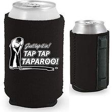 Load image into Gallery viewer, black magnetic can koozie with just tap it in taparoo funny golf design