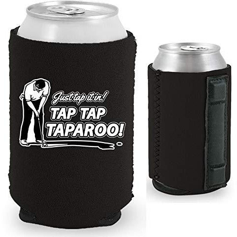 black magnetic can koozie with just tap it in taparoo funny golf design