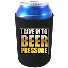 "Load image into Gallery viewer, black can koozie with ""i give in to beer pressure"" funny text design"
