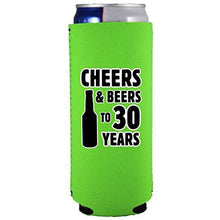 Load image into Gallery viewer, slim can koozie with cheers and beers to 30 years design