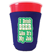 Load image into Gallery viewer, purple party cup koozie with i drink beer like its my job design