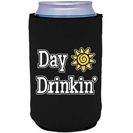 "black can koozie with ""day drinkin"" funny text design"