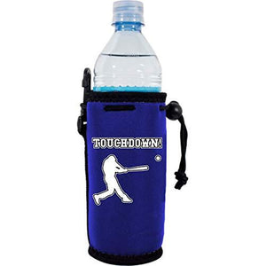"royal blue water bottle koozie with funny ""touchdown"" text and baseball player hitting ball graphic design"