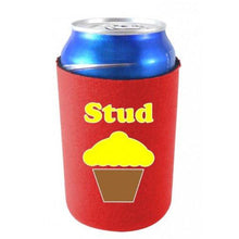 "Load image into Gallery viewer, red can koozie with ""stud"" text and muffin illustration design"