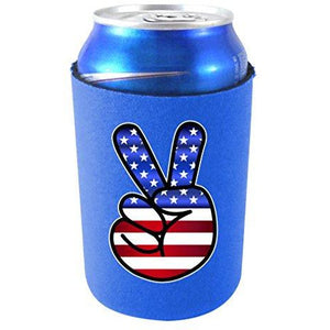 royal blue can koozie with america peace sign hand design