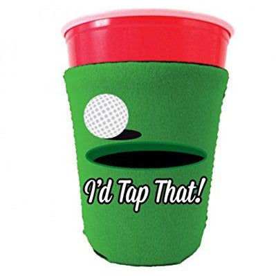bright green party cup koozie with id tap that design