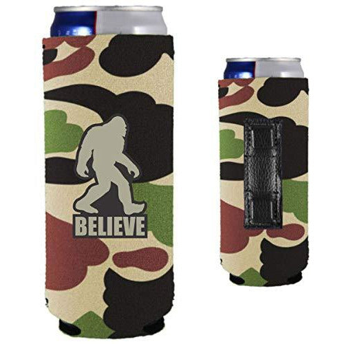 camo magnetic slim can with funny bigfoot believe design