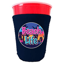 Load image into Gallery viewer, party cup koozie with beach life design