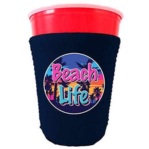 party cup koozie with beach life design