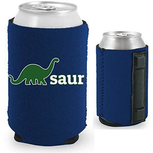 navy blue magnetic can koozie with dino-saur design