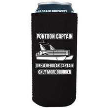 "Load image into Gallery viewer, Black 16oz tallboy can koozie with ""pontoon captain, like a regular captain only more drunker"" funny text design"