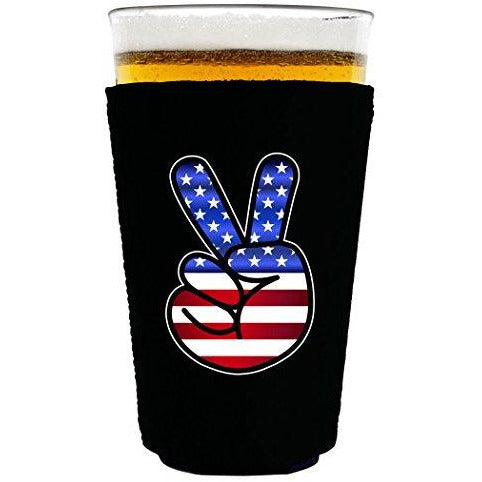 pint glass koozie with peace sign design