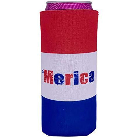 slim can koozie with 'merica text and red white and blue stripes design